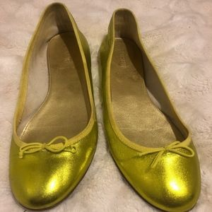 Adorable Metallic Green J Crew Flats